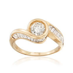 C. 1980 Vintage 1.45 ct. t.w. Diamond Bypass-Style Ring in 14kt Yellow Gold, , default