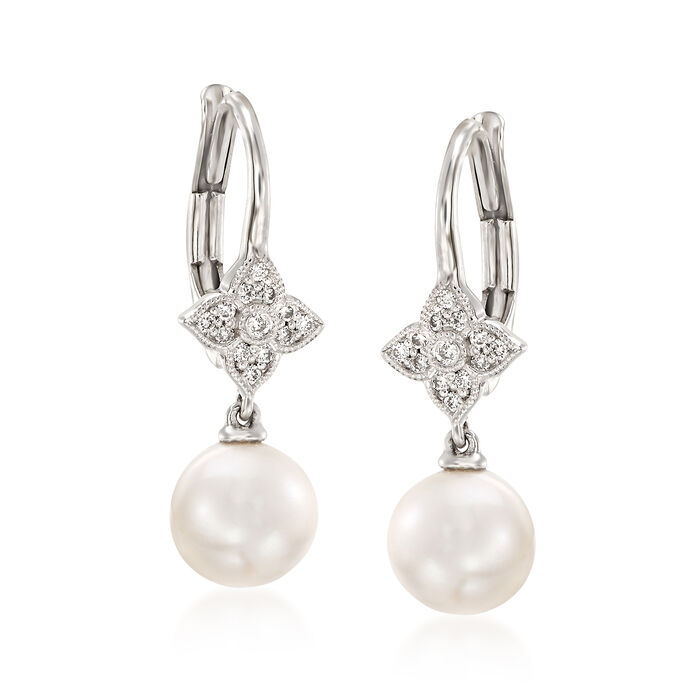 Gabriel Designs 7-7.25mm Cultured Pearl Drop Earrings in 14kt White Gold, , default