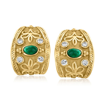 C. 1980 Vintage 1.60 ct. t.w. Emerald and .65 ct. t.w. Diamond Curved Clip-On Earrings in 18kt Yellow Gold