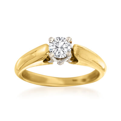 C. 2000 Vintage .44 Carat Diamond Solitaire Ring in Platinum and 18kt Gold