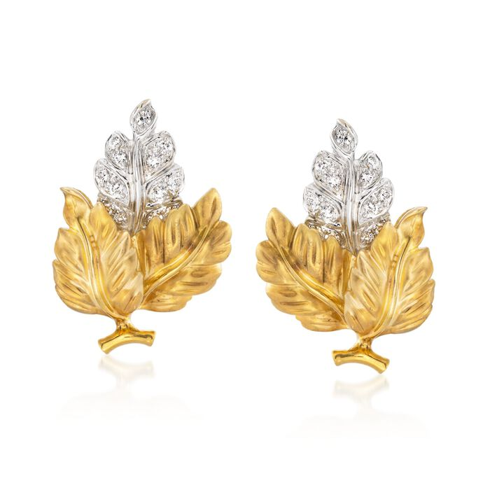 "C. 1980 Vintage .80 ct. t.w. Diamond Leaf Earrings in 18kt Yellow Gold. 1"", , default"