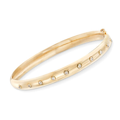 C. 1960 Vintage .25 ct. t.w. Diamond Bangle in 14kt Yellow Gold, , default