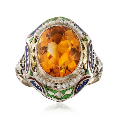 C. 1950 Vintage 4.00 Carat Citrine and Cultured Seed Pearl Ring with Enamel in 14kt Two-Tone Gold