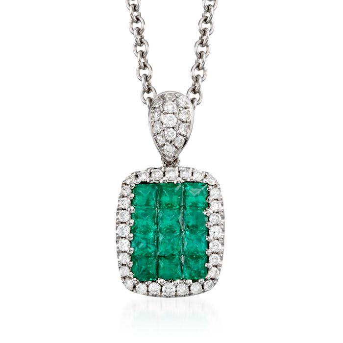 "Gregg Ruth .45 Carat Total Weight Emerald and Diamond Necklace in 18-Karat White Gold. 18"", , default"