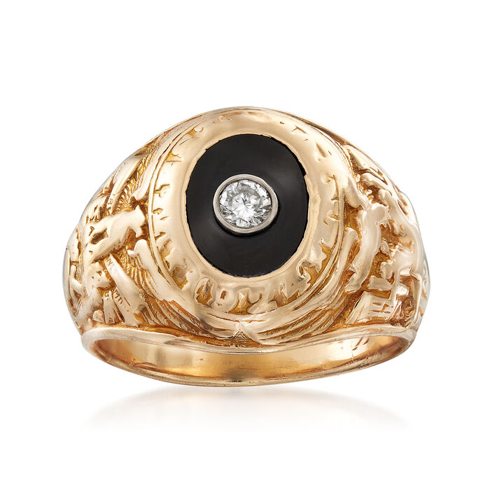 C. 1960 Vintage Tiffany Jewelry Black Onyx and .10 Carat Diamond Ring in 14kt Yellow Gold. Size 5.5, , default