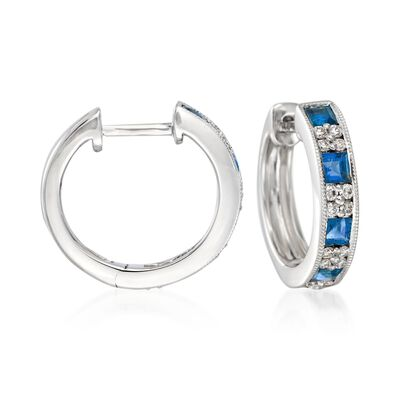 Gregg Ruth 1.00 ct. t.w. Sapphire and .24 ct. t.w. Diamond Hoop Earrings in 18kt White Gold. 1/2""