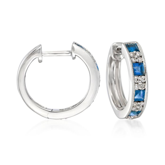 Gregg Ruth 1.00 Carat Total Weight Sapphire and .24 Carat Total Weight Diamond Huggie Hoops in 18-Karat White Gold