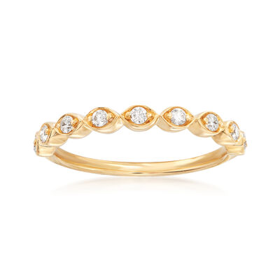 Henri Daussi .17 ct. t.w. Diamond Wedding Ring in 14kt Yellow Gold, , default