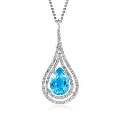 C. 2000 Vintage 4.30 Carat Blue Topaz and .50 ct. t.w. Diamond Pendant Necklace in 14kt White Gold, , default
