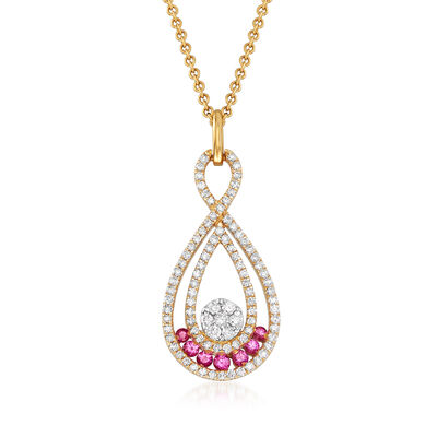 C. 1990 Vintage Giantti .45 ct. t.w. Diamond and .15 ct. t.w. Pink Sapphire Pendant Necklace in 18kt Yellow Gold