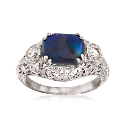 C. 1950 Vintage Black Opal and .40 ct. t.w. Diamond Ring in Platinum, , default