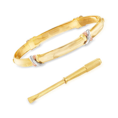 C. 1990 Vintage Cartier Trinity Bracelet in 18kt Tri-Colored Gold with Screwdriver, , default