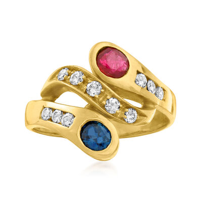 C. 1980 Vintage .60 ct. t.w. Multi-Gemstone and .35 ct. t.w. Diamond Bypass Ring in 18kt Yellow Gold