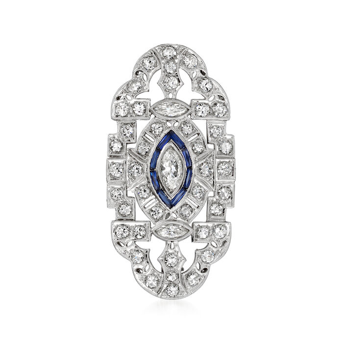 C. 1980 Vintage 2.40 ct. t.w. Diamond and .40 ct. t.w. Synthetic Sapphire Pin/Pendant Necklace in Platinum