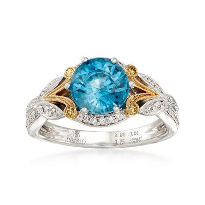 Simon G. 2.99 Carat Blue Zircon and .23 ct. t.w. Diamond Ring in 18kt Two-Tone Gold, , default