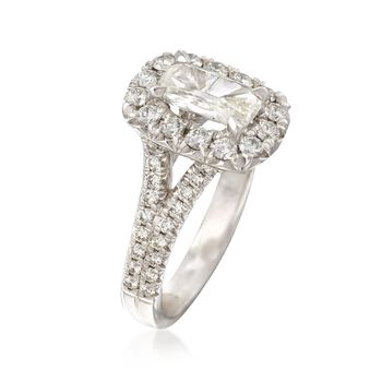 Henri Daussi 1.77 Carat Total Weight Certified Diamond Ring in 18-Karat White Gold. Size 6.5, , default