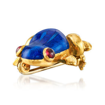 C. 1980 Vintage Blue Enamel Frog Pin with Ruby Accents in 18kt Yellow Gold, , default