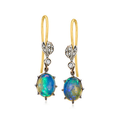C. 1980 Vintage Opal and .10 ct. t.w. Diamond Drop Earrings in Sterling Silver with 14kt Gold