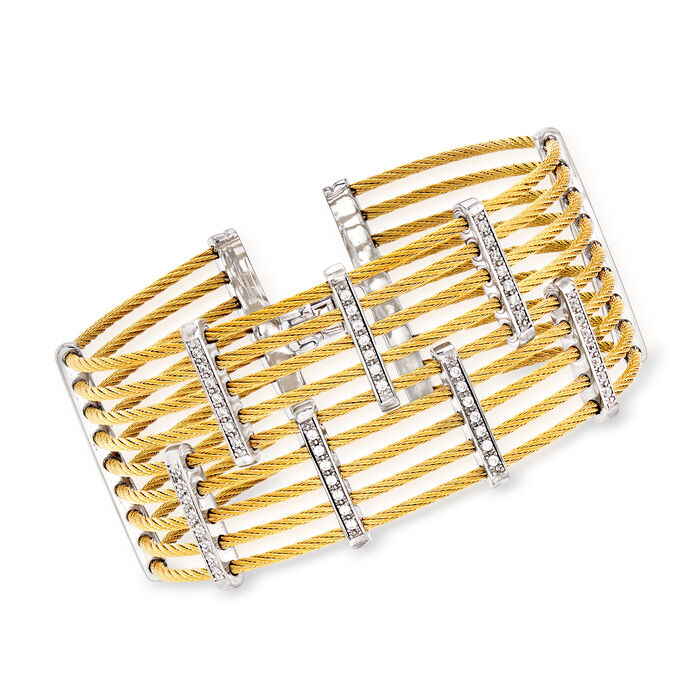 """ALOR """"Classique"""" .41 ct. t.w. Diamond Multi-Row Yellow Stainless Steel Cable Bracelet with 18kt White Gold"""