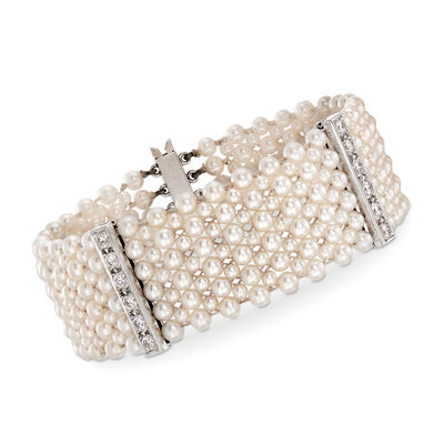 C. 1950 Vintage 3x4mm Cultured Pearl and 1.55 ct. t.w. Diamond Bracelet in Platinum, , default