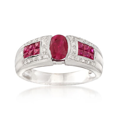 C. 1990 Vintage 1.30 ct. t.w. Ruby and .10 ct. t.w. Diamond Ring in 14kt White Gold, , default