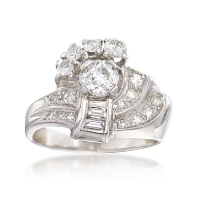 C. 1950 Vintage 1.06 ct. t.w. Multi-Cut Diamond Cluster Ring in Platinum, , default