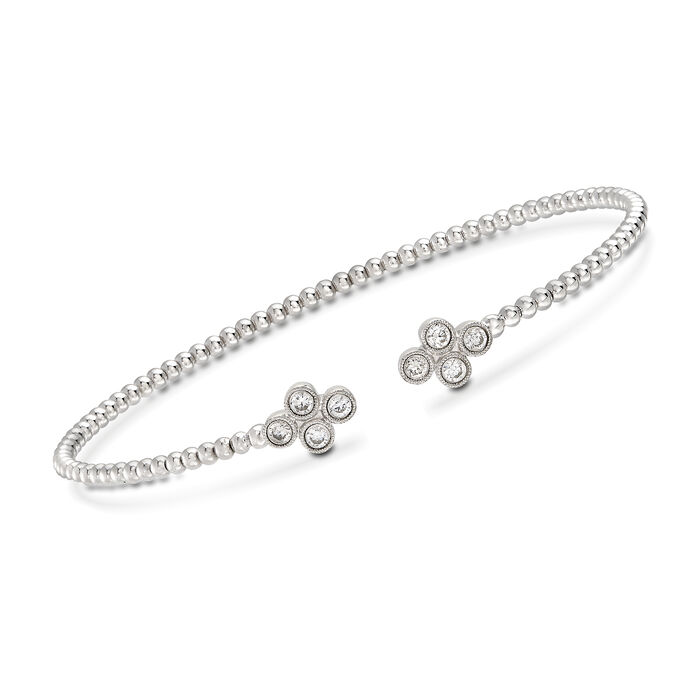 "Gabriel Designs .40 ct. t.w. Diamond Clover Cuff Bracelet in 14kt White Gold. 7"", , default"