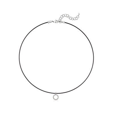 """ALOR """"Classique"""" Black Stainless Steel Cable Necklace with .14 ct. t.w. Diamonds and 18kt White Gold, , default"""