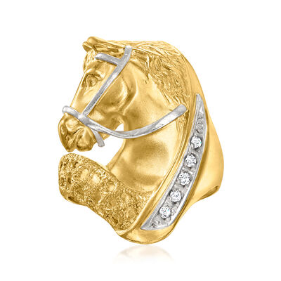 C. 1980 Vintage 18kt Yellow Gold Horse Head Ring with Diamond Accents