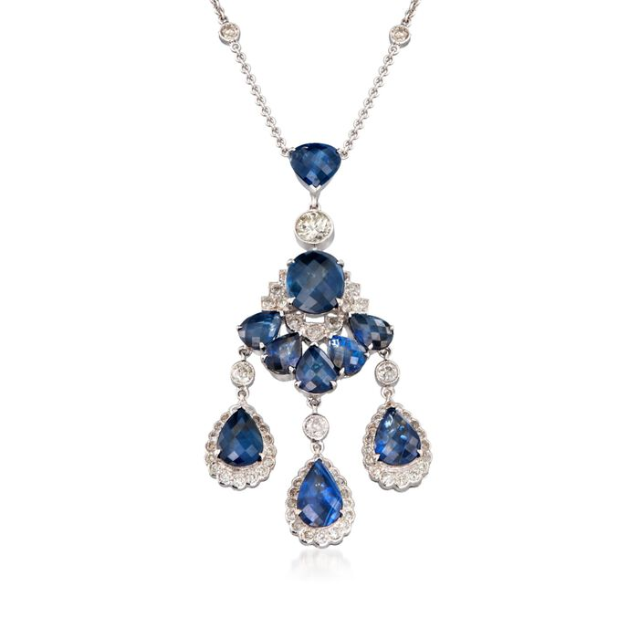 """C. 2000 Vintage 9.40 ct. t.w. Sapphire and 2.00 ct. t.w. Diamond Chandelier Necklace in 18kt White Gold. 16"""""""
