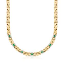 C. 1990 Vintage 2.80 ct. t.w. Emerald and .45 ct. t.w. Diamond Link Necklace in 18kt Two-Tone Gold, , default