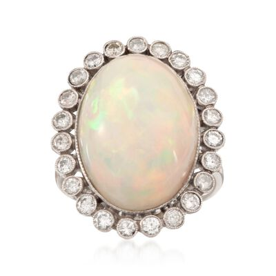 C. 1970 Vintage Opal and .82 ct. t.w. Diamond Ring in Platinum, , default