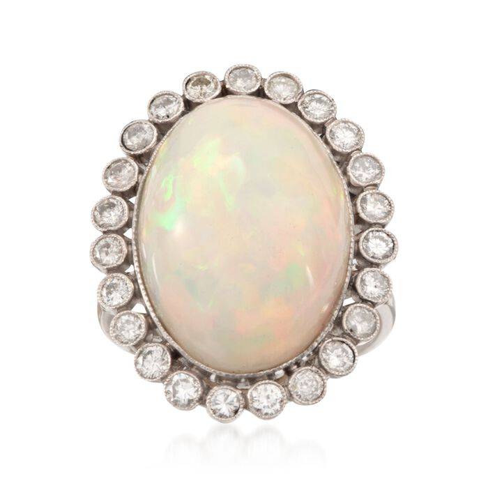 C. 1970 Vintage Opal and .82 ct. t.w. Diamond Ring in Platinum. Size 7, , default