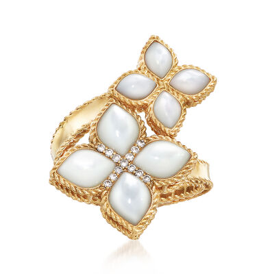 "Roberto Coin ""Venetian Princess"" Mother-Of-Pearl Bypass Ring with Diamond Accents in 18kt Gold, , default"