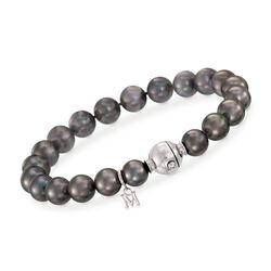 Mikimoto 8-9mm A+ Black South Sea Pearl Bracelet With Diamond Accent and 18kt White Gold, , default