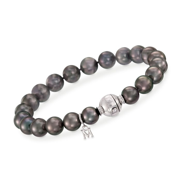 """Mikimoto A+ Black South Sea Pearl Bracelet With Diamond Accent in 18-Karat White Gold. 7"""", , default"""