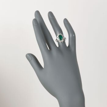 C. 1990 Vintage 1.65 Carat Certified Emerald and 1.15 ct. t.w. Diamond Ring in Platinum. Size 5.5