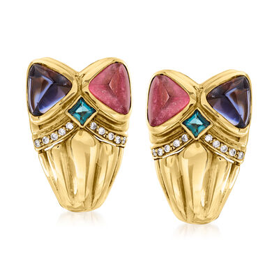 C. 1980 Vintage 5.50 ct. t.w. Multi-Gemstone and .20 ct. t.w. Diamond Clip Earrings in 18kt Yellow Gold