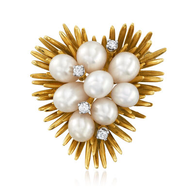 C. 1970 Vintage Tiffany Jewelry Cultured Pearl and .20 ct. t.w. Diamond Heart Pin in 18kt Yellow Gold