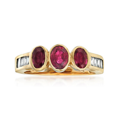 C. 1980 Vintage 1.20 ct. t.w. Ruby and .35 ct. t.w. Diamond Ring in 14kt Yellow Gold, , default