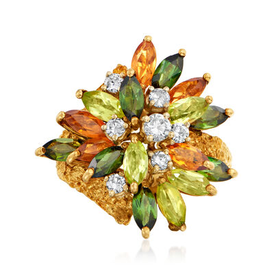 C. 1980 Vintage 3.25 ct. t.w. Multi-Gem and .50 ct. t.w. Diamond Cocktail Ring in 18kt Yellow Gold