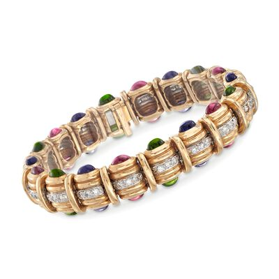 C. 1990 Vintage 8.40 ct. t.w. Multi-Stone and 1.25 ct. t.w. Diamond Bracelet in 14kt Yellow Gold, , default