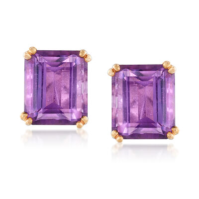 C. 1940 Vintage 17.60 ct. t.w. Amethyst Clip-On Earrings in 18kt Yellow Gold, , default