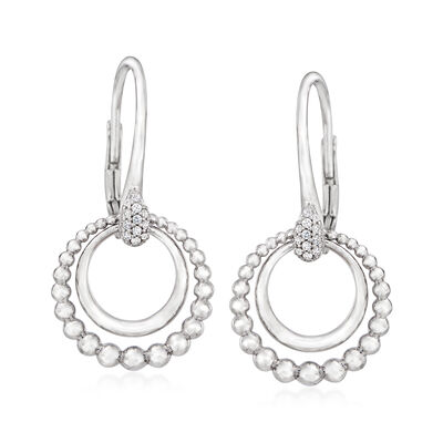 Gabriel Designs .10 ct. t.w. White Sapphire Double-Circle Earrings in Sterling Silver