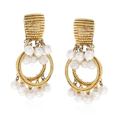 C. 1960 Vintage 4.5-5mm Cultured Pearl Textured Circle Drop Clip-On Earrings in 14kt Yellow Gold, , default