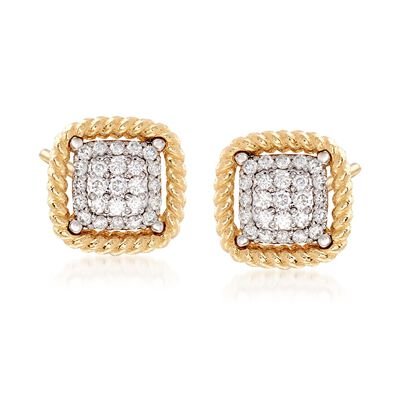 "Roberto Coin ""Barocco"" .30 ct. t.w. Diamond Square Earrings in 18kt Yellow Gold, , default"
