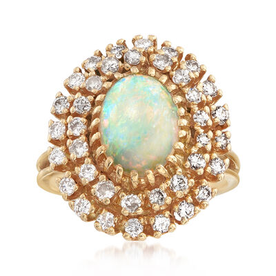 C. 1970 Vintage Opal and 1.15 ct. t.w. Diamond Ring in 14kt Yellow Gold, , default