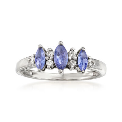 C. 1980 Vintage .55 ct. t.w. Tanzanite and .10 ct. t.w. Diamond Ring in 14kt White Gold, , default