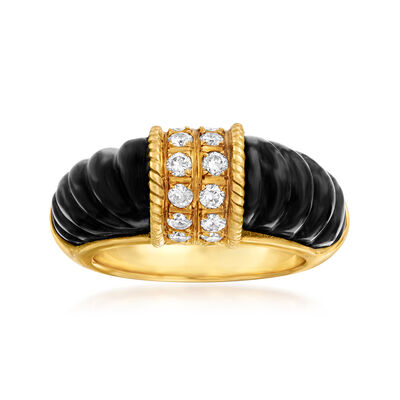C. 1980 Vintage Black Onyx and .50 ct. t.w. Diamond Ring in 18kt Yellow Gold, , default