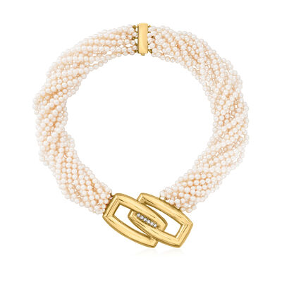 C. 1980 Vintage 3.5mm Cultured Pearl Interlocking Bar Station Necklace with .40 ct. t.w. Diamonds in 18kt Yellow Gold
